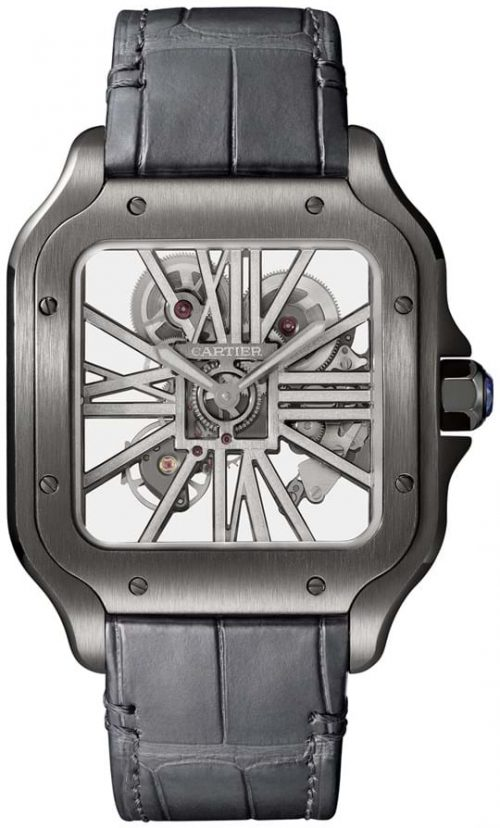 Cartier Santos De Cartier Herrklocka WHSA0009 Skelettskuren/Läder