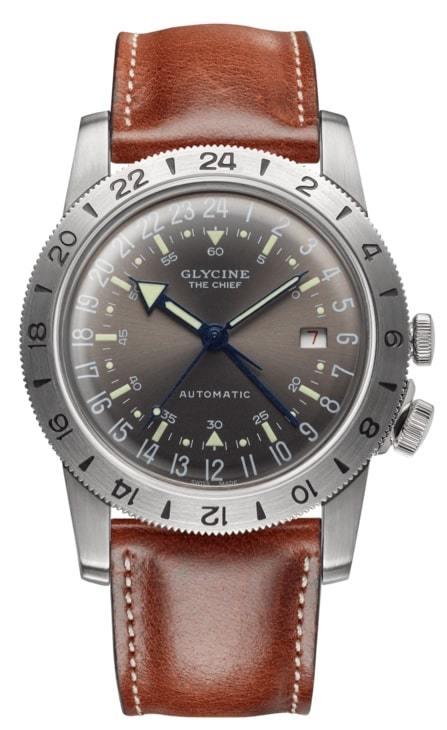 Glycine Airman Herrklocka GL0183 Silverfärgad/Läder Ø40 mm