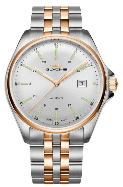 Glycine Combat Herrklocka GL0104 Silverfärgad/Roséguldstonat stål