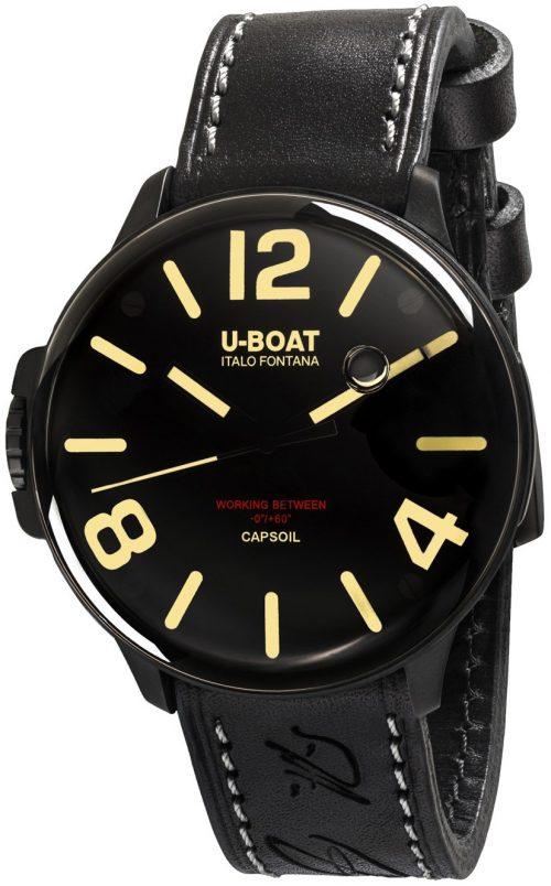 U-Boat Capsoil Herrklocka 8108 Svart/Läder Ø45 mm