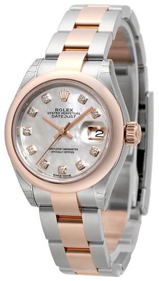 Rolex Lady-Datejust 28 Damklocka 279161-0014 Vit/18 karat roséguld