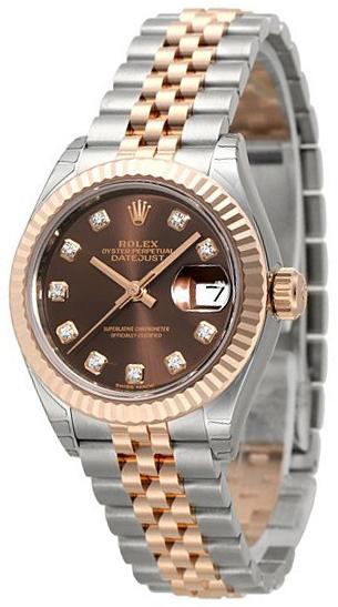 Rolex Lady-Datejust 28 Damklocka 279171-0011 Brun/18 karat roséguld
