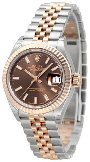 Rolex Lady-Datejust 28 Damklocka 279171-0017 Brun/18 karat roséguld