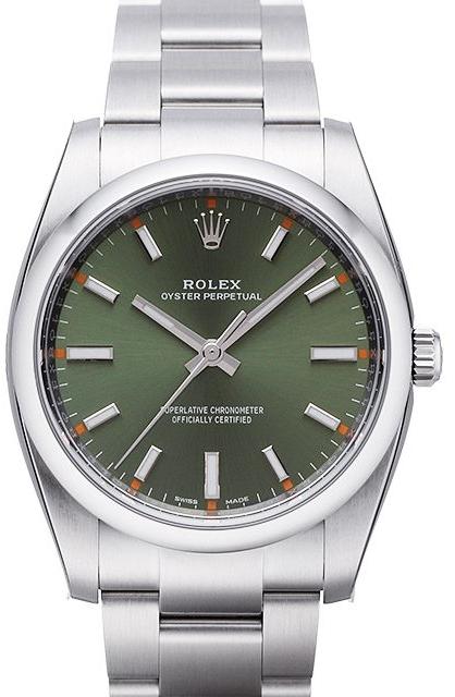 Rolex Oyster Perpetual 34 Herrklocka 114200-0021 Grön/Stål Ø34 mm