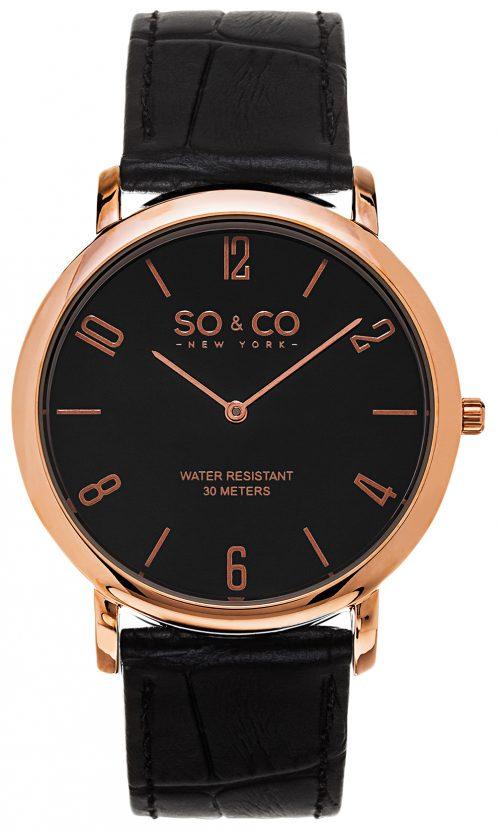 So & Co New York Madison Herrklocka 5043.4 Svart/Läder Ø39 mm