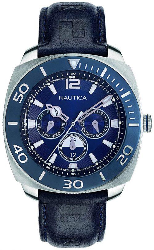 Nautica 99999 Herrklocka NAPBHS901 Blå/Läder