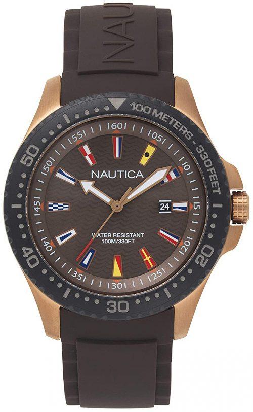 Nautica 99999 Herrklocka NAPJBC007 Brun/Gummi Ø44 mm