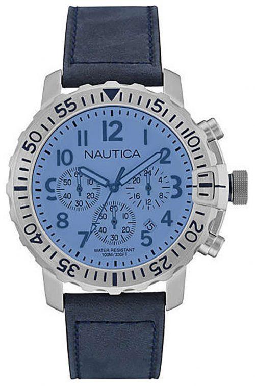 Nautica Chronograph Herrklocka NAI19534G Blå/Läder Ø48 mm