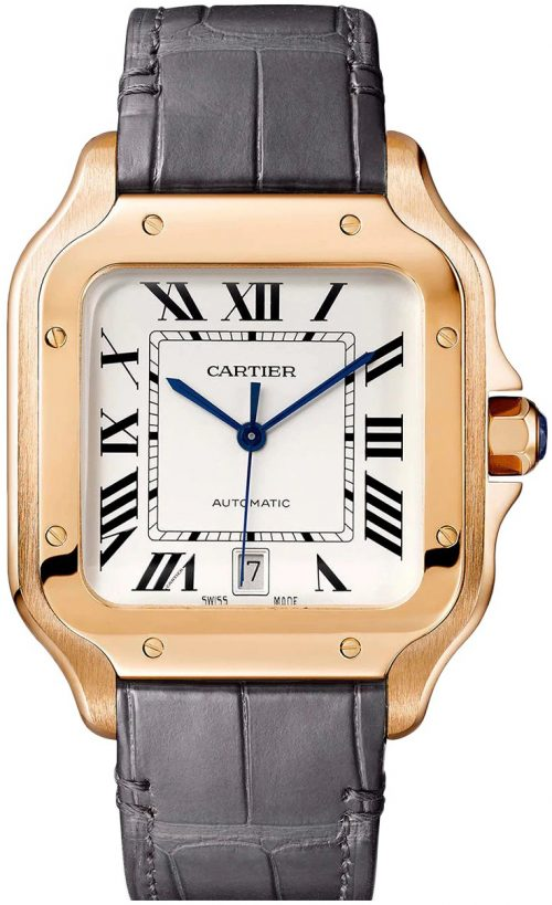 Cartier Santos De Cartier Herrklocka WGSA0019 Silverfärgad/Läder