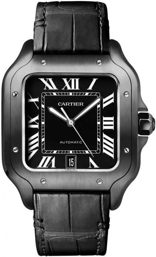 Cartier Santos De Cartier Herrklocka WSSA0039 Svart/Läder