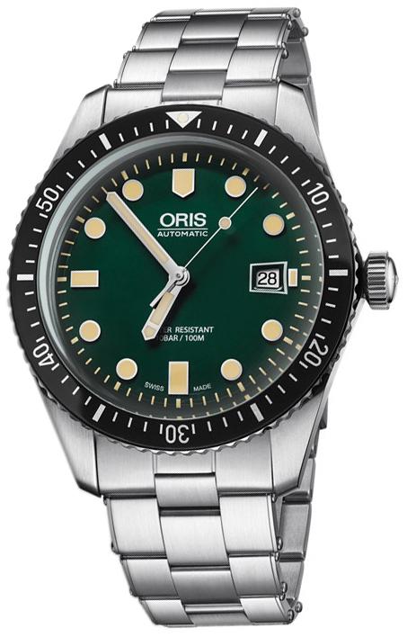 Oris Diving Herrklocka 01 733 7720 4057-07 8 21 18 Grön/Stål Ø42 mm