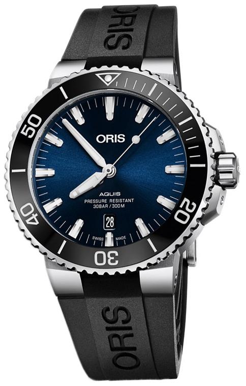 Oris Diving Herrklocka 01 733 7730 4135-07 4 24 64EB Blå/Gummi
