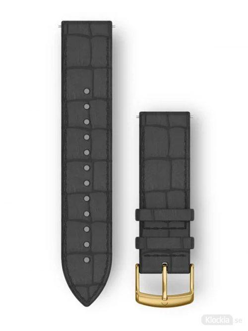 Garmin Armband 20mm med snäppspänne, Svart Italianskt Läder med spänne i 24K Guld