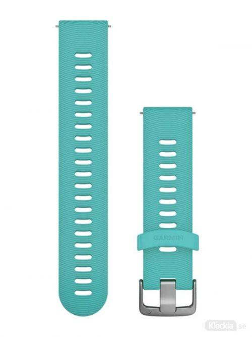Garmin Armband med snäppspänne, Turkost silikonarmband med spännen i rostfritt stål