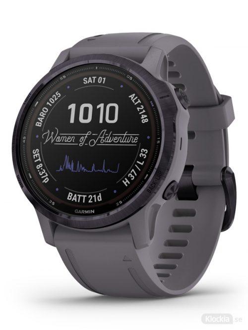 Garmin fēnix® 6S Pro Solar, Ametistfärgat stål med ljust skiffergrått armband 010-02409-15
