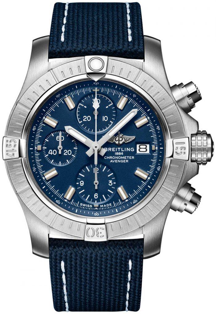 Breitling Avenger Chronograph 43 Herrklocka A13385101C1X2 Blå/Läder