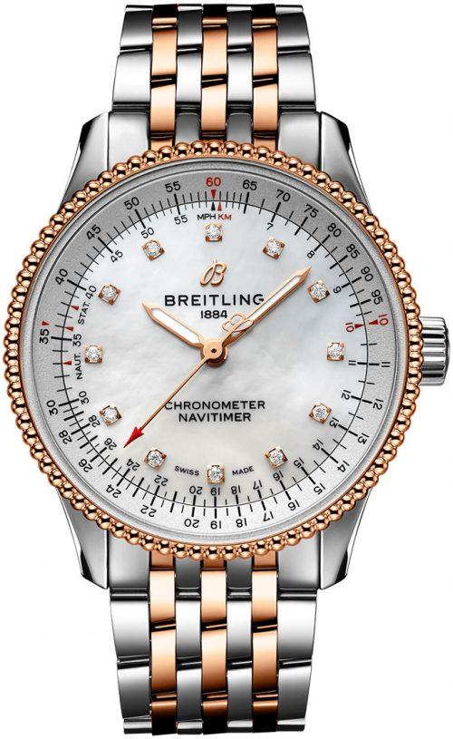 Breitling Navitimer Automatic 35 Damklocka U17395211A1U1 Vit/18 karat