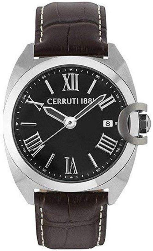 Cerruti 1881 Herrklocka CRA183SN02BR Svart/Läder Ø44 mm
