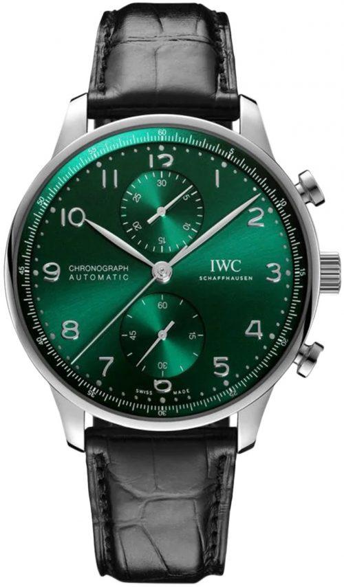 IWC Portugieser Herrklocka IW371615 Grön/Läder Ø41 mm