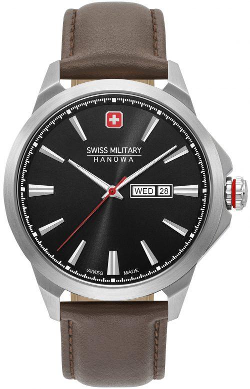 Swiss Military Hanowa Herrklocka 06-4346.04.007 Svart/Läder Ø45 mm