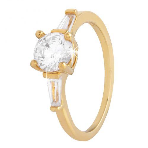 18K Guldpläterad ring med rund och baguettformade Zirkonia