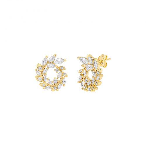 18k Guldpläterade örhängen - Blomkransar med Kubisk Zirkonia