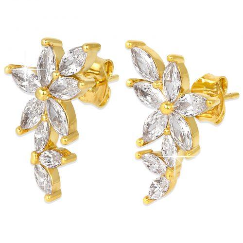 18k Guldpläterade örhängen - Blommor med Kubisk Zirkonia
