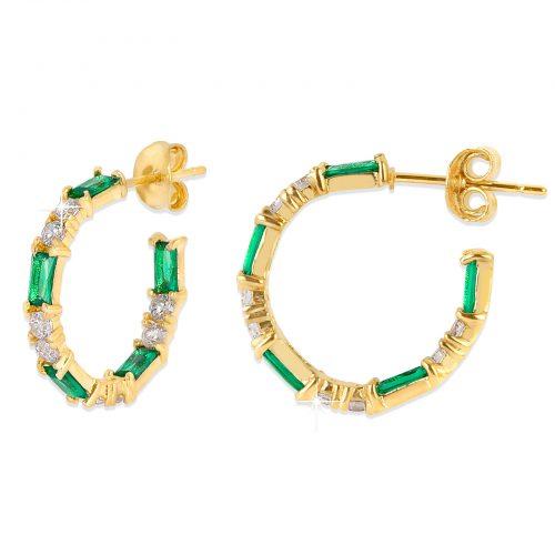 18k Guldpläterade örhängen - creoler med grön Kubisk Zirkonia