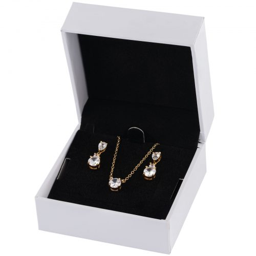 18k Guldpläterat set - örhängen och halsband med Kubisk Zirkonia