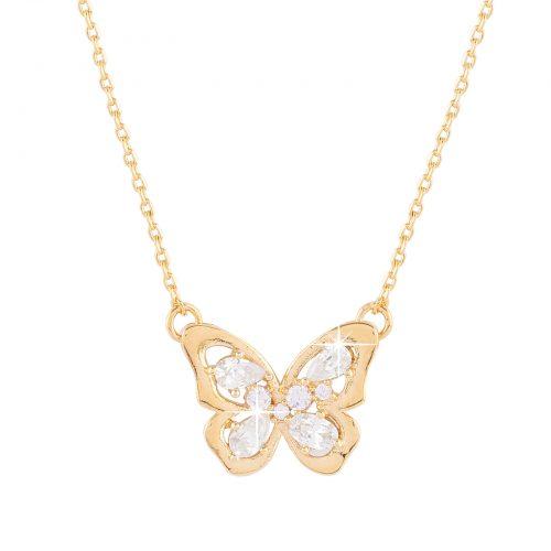 18k guldpläterat halsband med berlock fjäril