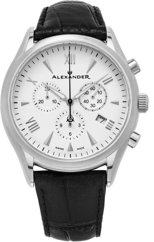 Alexander Heroic Herrklocka A021-02 Vit/Läder Ø42 mm