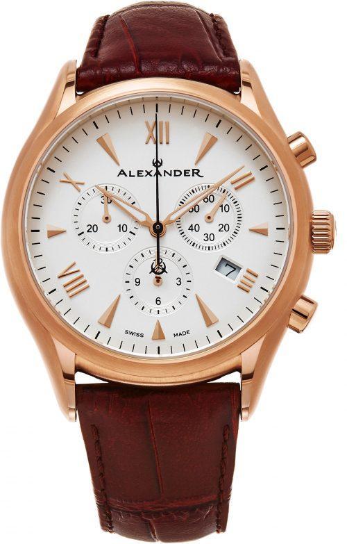 Alexander Heroic Herrklocka A021-04 Vit/Läder Ø42 mm