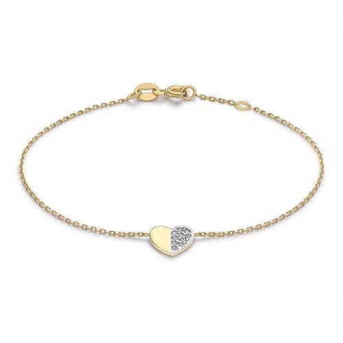 Armband 9K Guld 18 cm - Hjärta