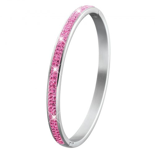 Armband för barn - bangle i stål med rosa stenar