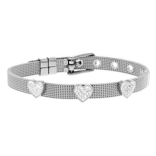 Armband för barn - stål med vita hjärtan