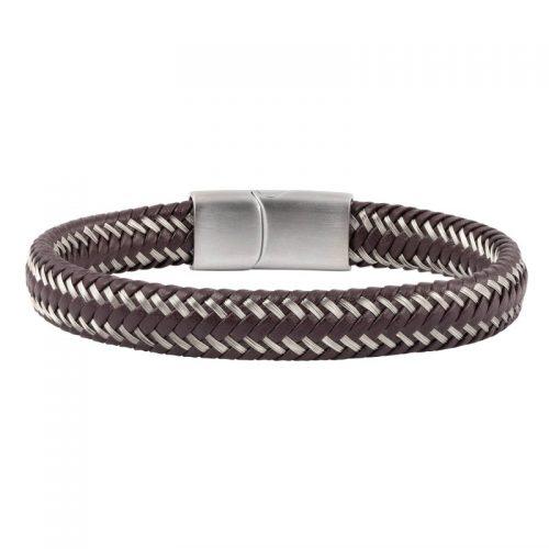 Armband i brunt läder och ståltråd - Herr