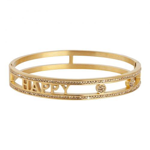 """Armband i stål """"happy"""" - guldfärgat med vita stenar"""