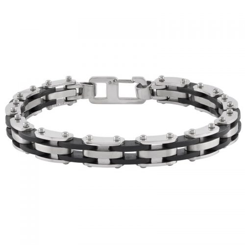Armband herr - stål och svart gummi