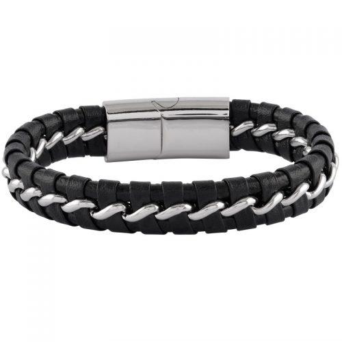 Armband i svart läder och stål - Herr