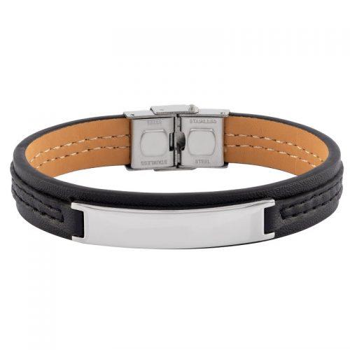 Armband i svart läder och stål med bricka - Herr