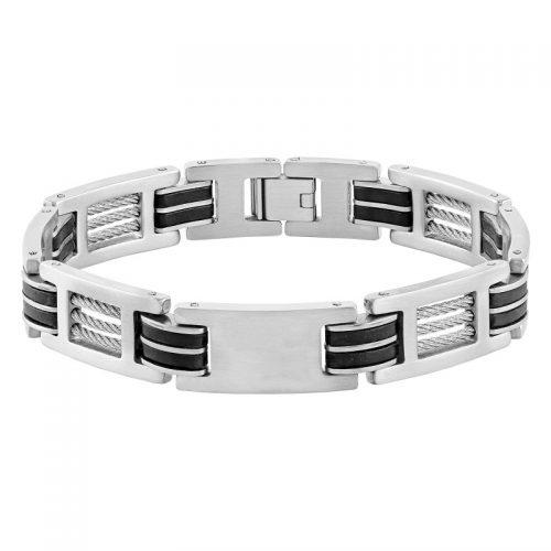 Armband herr - stål med vajer