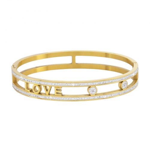 """Armband stål """"Love"""" - guldfärgad med vita stenar"""