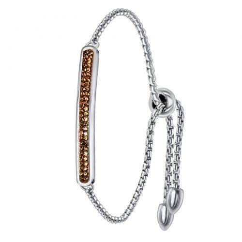 Armband stål med topaz-färgade kristaller