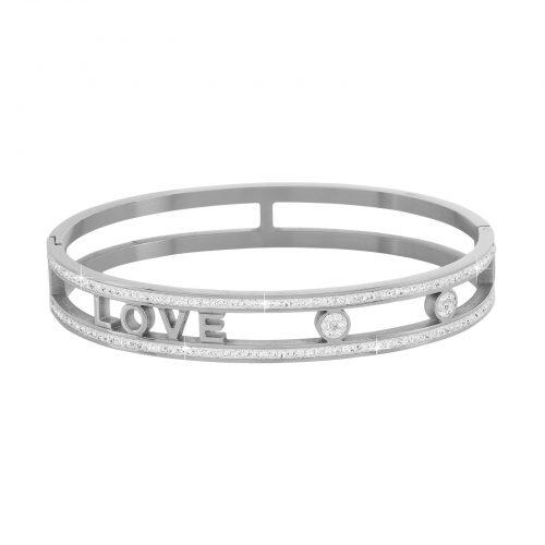 Armband stål med vita stenar - Love