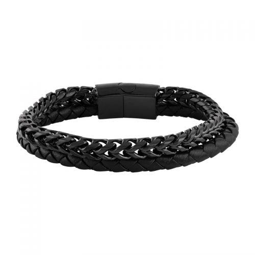 Armband herr - svart stål och läder