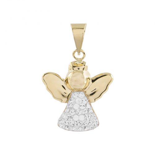 Berlock 18k guld -Ängel med kristaller