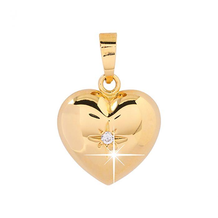 Berlock 18k guld - Hjärta Kubisk Zirkonia 7 mm