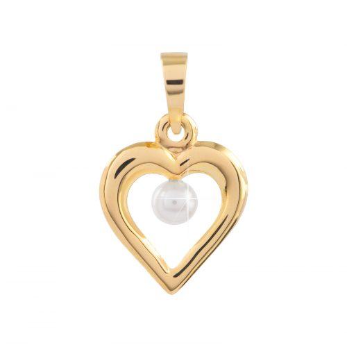 Berlock 18k guld - Hjärta med liten pärla