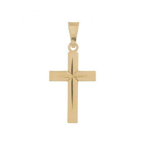 Berlock 18k guld - Kors med facetter 13x22 mm