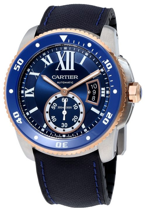 Cartier Calibre De Cartier Herrklocka W2CA0008 Blå/Gummi Ø42 mm